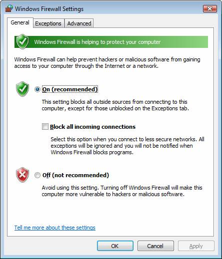 Изменение параметров брандмауэра Windows